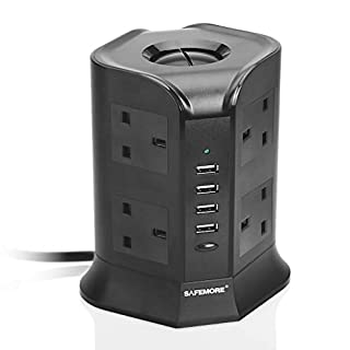 SAFEMORE Extension Lead 8 Gang Outlets Surge Protection with 4 USB Ports Multi Plug Charging Station Power Strips Extension Tower with Overload Protectors 2M Extension Cord UK Plug with Safety Door