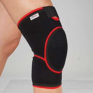 Padded Knee Support - Close Patella Brace - Neoprene Strap - Adjustable Arthritis Guard - Light Injuries Sleeve - for Tendon Pain Relief - for Gym Running Cycling Sport (L)