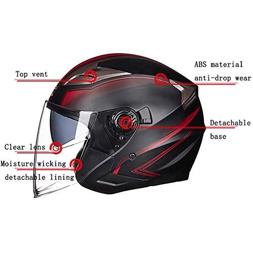 MMGIRLS Jugend Motorradhalbhelm - Männer und Frauen Vier Jahreszeiten Helm Sommer Doppel Objektiv Motorrad Sicherheit Sonnenhut (dumm schwarz Distel),XL -