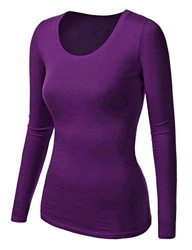 Damen Frauen Langarm T Shirt - Basic TShirt - Basis Bluse - Unterhemd - Tops Violett