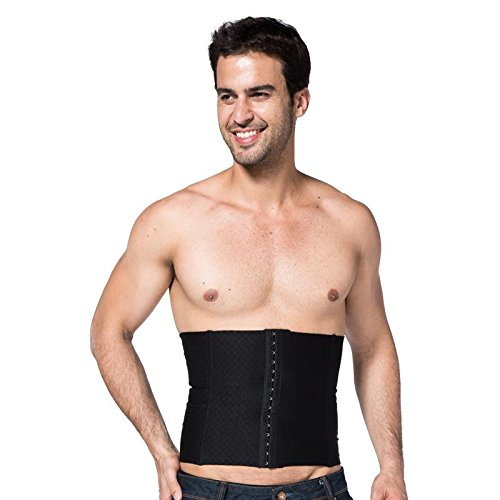 ZEROBODYS Staylace masculino y femenino / verano transpirable sección larga tres hebilla shapewear / faja / reducir el estómago , Black , xxxl