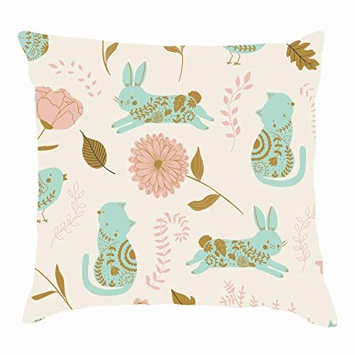 dfgi Garden kidsanimal Throw Pillow Covers Cotton Linen Cushion Cover Cases Pillowcases Sofa Home Decor 18