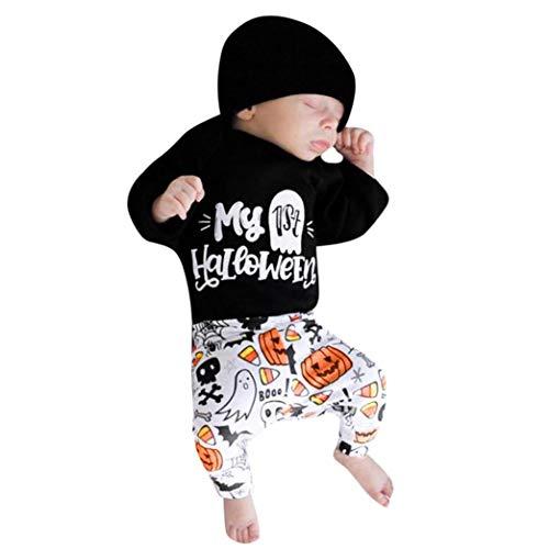 (OdeJoy Baby Mädchen Jungen Karikatur Brief Drucken HA Yi + Hose + Cap 3 Stück Halloween Spielanzug Kostüm Outfits Einstellen Kürbis Gedruckt Kleider Romper Outfits(Schwarz,80))