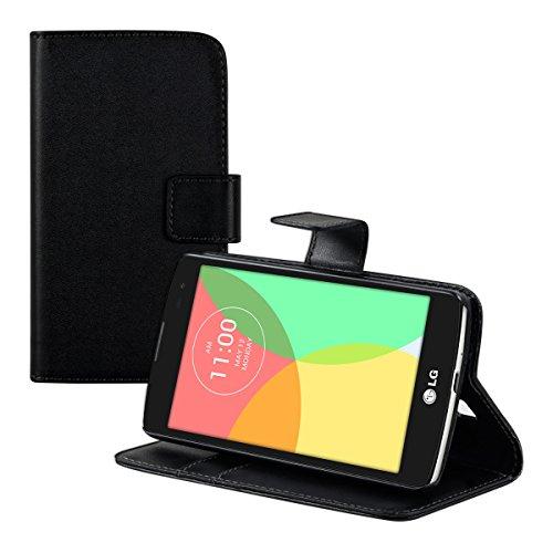 kwmobile Hülle für LG L Fino - Wallet Case Handy Schutzhülle Kunstleder - Handycover Klapphülle mit Kartenfach und Ständer Schwarz