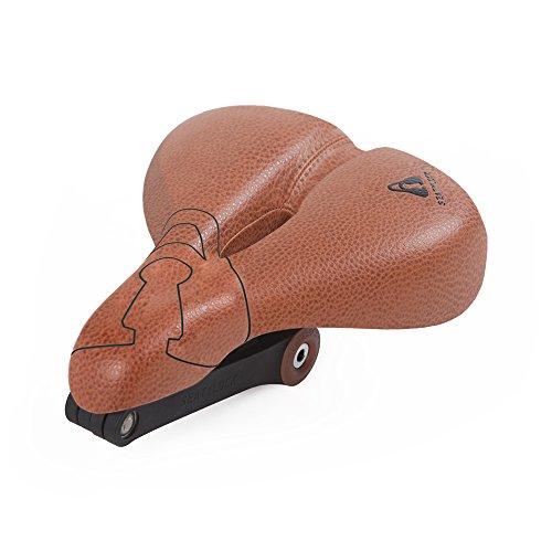 Seatylock 2 in 1 Fahrradsattel & Schloss , Sportlicher Sattel mit integriertem Faltschloss schwerlast Premium Sicher Bohrungsbeständig  Anti-Diebstahl-Fahrrad Hybrid-Sattelschloss für maximalen Schutz für Ihr Fahrrad (Klassisch Braun, Comfort)