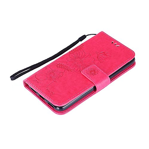 Horizontale Bookstyle Flip Case Premium PU Ledertasche, Solid Color Embossed Blumen Schutzbrieftasche Case Cover mit Lanyard & Stand für Meizu Meilan 3 ( Color : Green ) Red