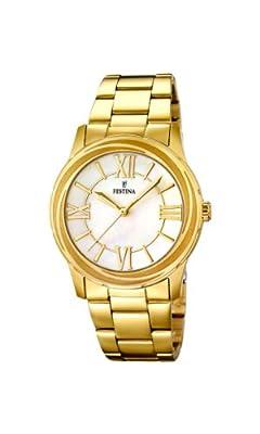 Festina F16724/1 - Reloj de cuarzo para mujer, con correa de acero inoxidable, color dorado de Festina