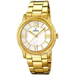 Festina F16724/1 - Reloj de cuarzo para mujer, con correa de acero inoxidable, color dorado