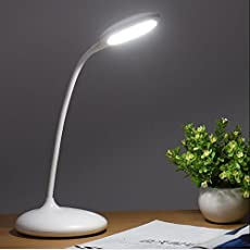 Stvin ABS Flexible Rechargeable LED Table Lamp with 3 Level Brightness and Touch Sensor, White