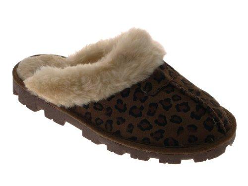 Damen-/Mädchenpantoletten, unechtes Schaffell und Veloursleder, gefüttert, warm und bequem, UK Größe 3-8 Leopard Dark Brown