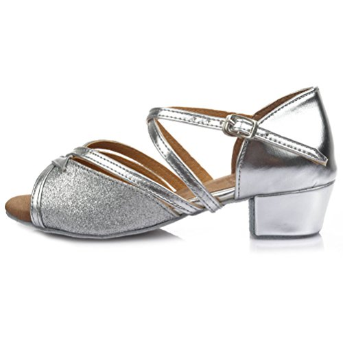 Hroyl donna i-206 argento raso scarpe da ballo sala da ballo latino eu 35.5