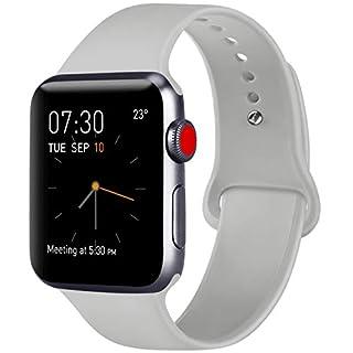 ATUP Armband Kompatibel für Apple Watch Armband 38mm 42mm 40mm 44mm, Weich Silik on Ersatz Armband für iWatch Series 4, Series 3, Series 2, Series 1 (03 Grey, 38mm/40mm-S/M)