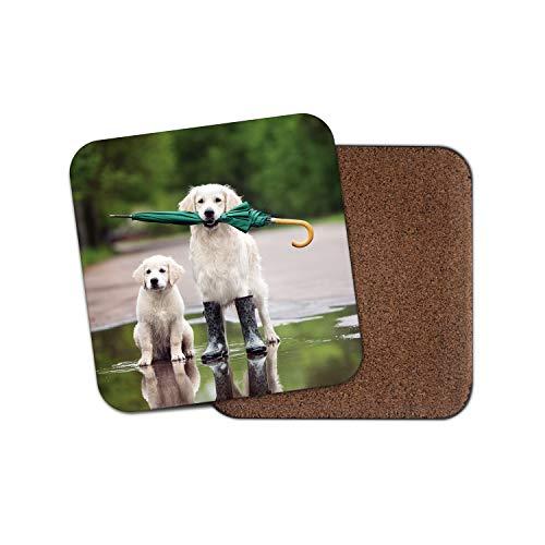 Lustiger Golden Retriever Untersetzer - Hund Welpe süß Witz Tiere Haustier Geschenk #15644 -