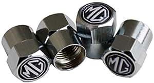 M+G Black and Shiny Silver Chrome Wheel Valve Dust Caps