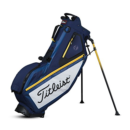 Titleist Players Golf Stand Bag – Ultra Lightweight – Double to Single Strap System (Navy/White/Yellow)