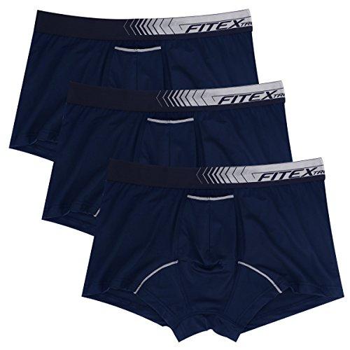 FITEXTREME Herren Boxershorts mit separater Tasche, Stretch, 3 Stück - Blau - Large (Boxer Briefs Von Amazon Verkauft)