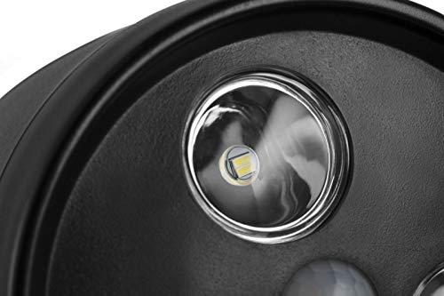 LED LOVERS Brighton LED Wandleuchte aussen mit Bewegungsmelder, LED Spot batteriebetrieben Bewegungsmelder PIR, Superhelles Sicherheitslicht mit Sensor: 120 Grad, Wasserdicht, wetterfest, Schwarz