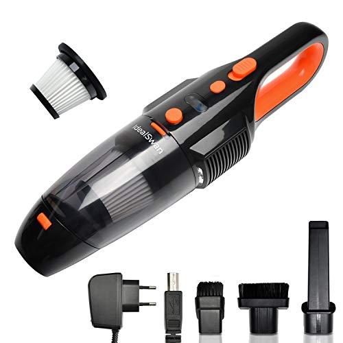 Akku Handstaubsauger 7Kpa Ideal Swan Handstaubsauger 120W 2200mAh/25 min Auto/Haus Kabellos Handsauger, Staubsauger Nass/Trocken mit Batterie-LCD-Anzeige, LED-Licht, Waschbarer Filter und Zubehör
