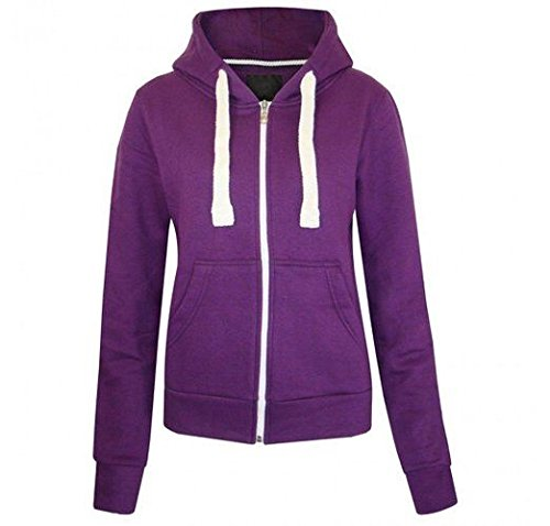 Kids teenager plain coloured zip up hooded sweatshirt hoody