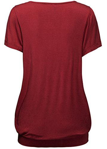 KorMei Damen Tops Casual Kurzarm Falten Tunika T-Shirt mit Stretch Rundkragen Weinrot