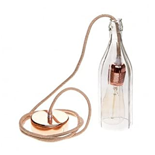 amarcords Bottle Shaped Glass (220x80 mm). Comes with 2 m Cable Textile Juta 100 mm, E27 Socket, and a Shade Copper. It Does not Include Bulb.