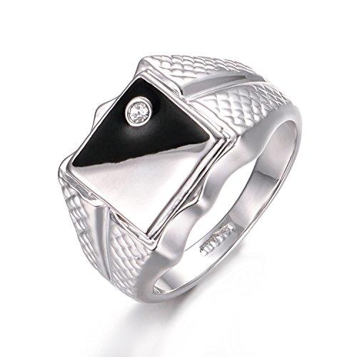 Yoursfs schwarz und weiß Siegelring für Herren 18K Weißgold Vergoldet Modeschmuck für Ring der Männer