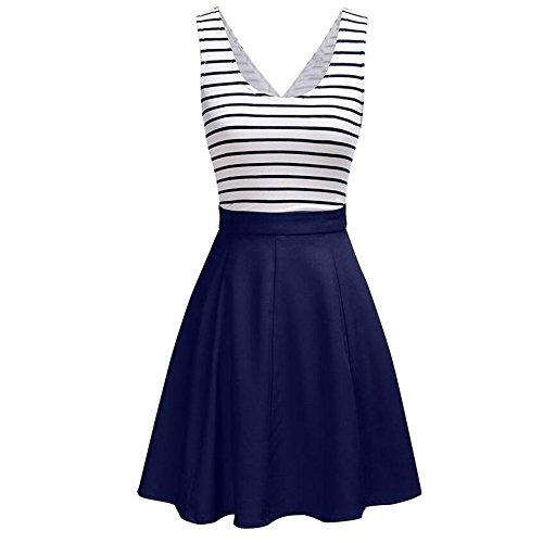 Summer Mae Robe Décontractée Sans Manches et avec des rayures pour Femme Bleu Marine