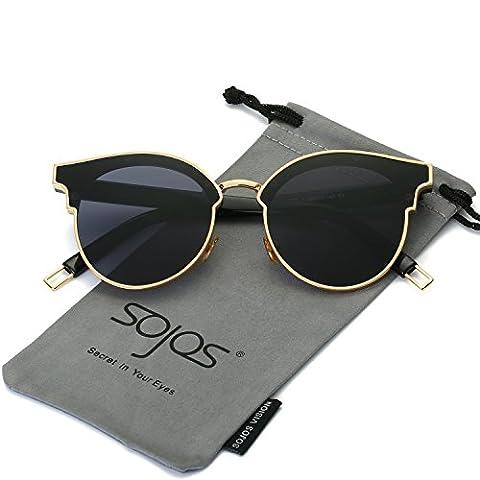 SojoS Lunettes de Soleil Unisexe Rétro Rond Miroité Métal Moderne Vogue pour Femmes et Hommes SJ1055 avec Or Cadre/Gris