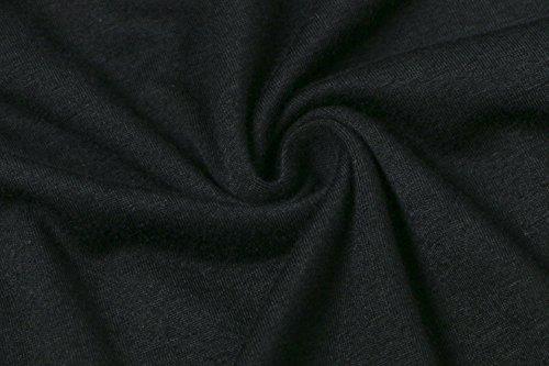 Vestiti Donna Abito Corto Eleganti Al Ginocchio Irregolare Vestitini Vintage Casual Manica Lunga Rotondo Collo Vestito Fori Senza A Pieghe Senza Schienale Abiti Sciolto Nero