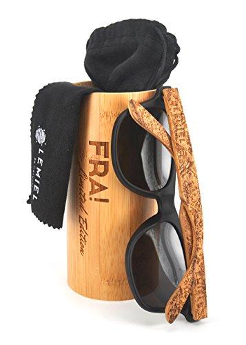 LEMIEL - DIE ÖKO-HOLZBRILLE - Hochwertige Holzsonnenbrillen & Cateye aus Echtholz - Polarisiert - Damen & Herren - Bambus-Etui - UV 400-1 Artikel = 1 Baum. (FRA Zebraa)