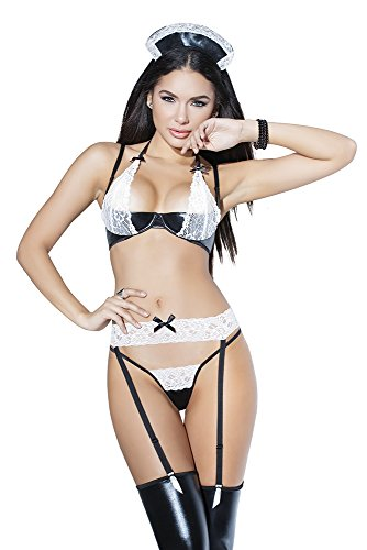 ürtel & String Wetlook Set French Maid Darque ()
