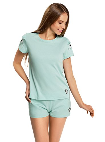 oodji Ultra Femme Pyjama en Coton avec Imprimé Turquoise (7329P)