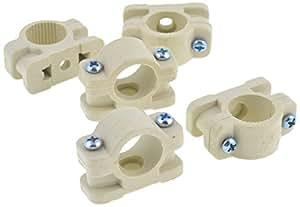 sourcingmap® Diamètre: 18 mm Tube plastique tuyau pinces Beige Lot de 5 connecteurs
