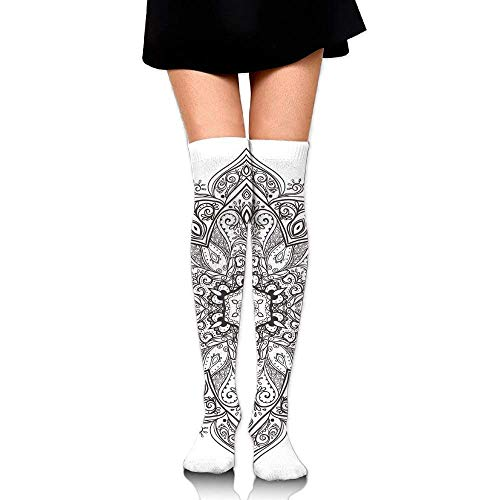 OQUYCZ Woman's Asian Psychedelic Circular Element Lotus Ethnic Medallion Simplicity High Boot Socks Medallion-boot