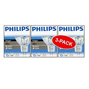 Philips 50W GU5.3 MR16 12V Dimmable Halogen Dichroic Spot Bulbs (3 Pack)