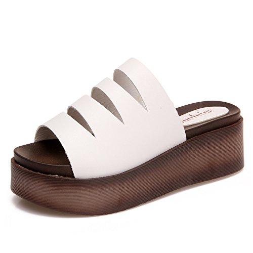 TONGS SANDALES 5CM Sandales sexy d'été féminin Chaussons décontractés Sandales épaisses Noir Blanc élégant Blanc