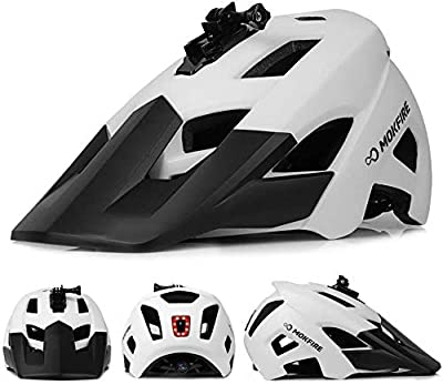 MOKFIRE Mountain Bike Helmet with USB Safety Light & Camera Mount Detachable Super Long Sun Visor for MTB Adult Cycling Bicycle Helmet for Women and Men - Size (22-24 Inches) from MOKFIRE