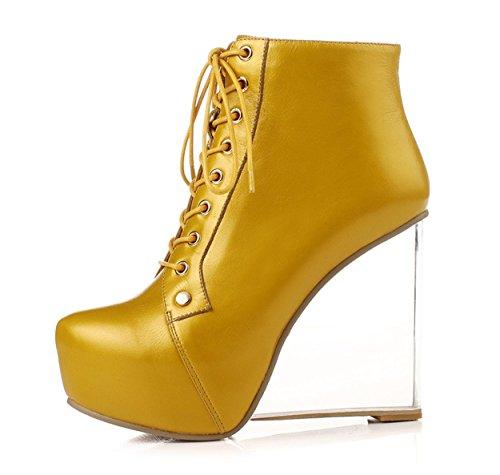 WSS In pelle tacco alto scarpe con piattaforma trasparente stivali