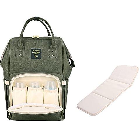 Sunveno Grand Sac à Langer bébé Imperméable Sac à dos pour Maman Bébé Sac à Dos à Langer avec matelas à langer (olive verte)