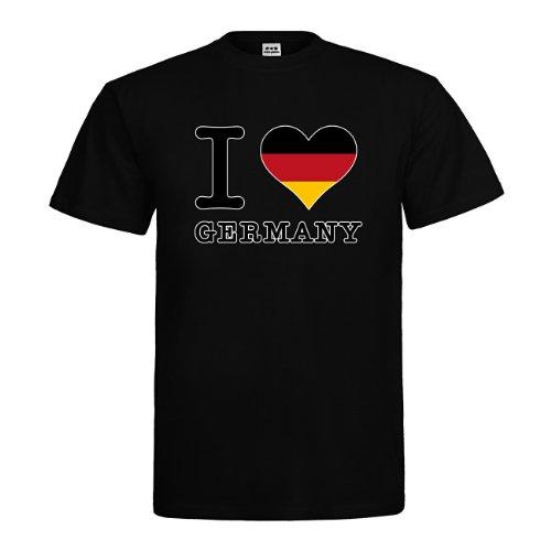 T-Shirt - I Love Germany Schwarz Rot Gold - Textil black / Größe XXL