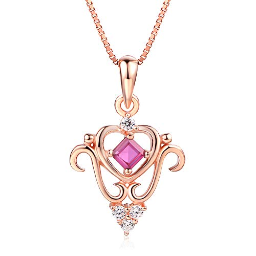 YOLANDE Halskette Geschenke Juli Birthstone Red Ruby Halskette Sterling Silber Anhänger Schmuck Geburtstag Geburtstagsgeschenk für Frauen