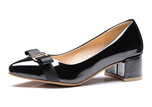 VogueZone009 Donna Tacco Medio Puro Tirare Pelle di Maiale Scarpe A Punta Ballet-Flats, Nero, 39