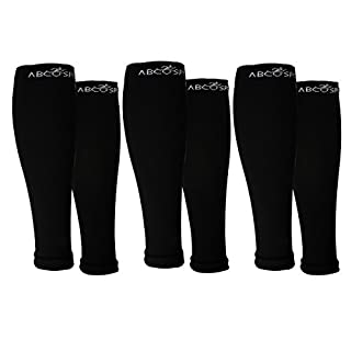 Abco Tech (3 Pack) Calf Compression Sleeve for Shin Splints Graduated Leg Sleeve for Basketball Running