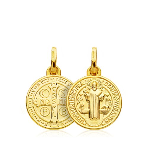 Medalla Escapulario San Benito Monje Oro 18k 14mm