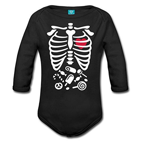 Spreadshirt Halloween Kostüm Knochen Brustkorb Süßigkeiten Baby Bio-Langarm-Body, 68 (3-6 M.), Schwarz (Halloween Brustkorb)