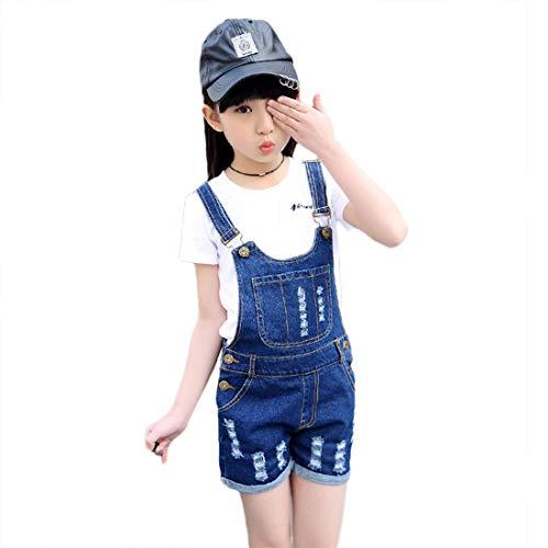 PanpanBox Mädchen Jeans LatzhoseRipped Kurze-HoseJeans-ShortsKinder Bib Pants Denim Overall Röhren Hosenanzug mit Löchern Sommerhose 3-12 Jahre (170# / ~ 11-12 Jahre) (Mädchen Hose Bib)