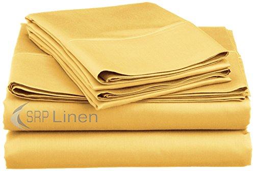 Gold Massive 100% ägyptische Baumwolle 4Extra tief Pocket, Blech, Set Fit bis zu 55,9cm Tief Tasche, King Size --- Fadendichte 400 (20-zoll-pocket-king-blatt)