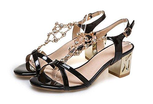 SHINIK Damen Open Toe Pumps 2017 Frühling Sommer New Diamond Rough Ferse Wort Wölbung Mode Ältere Sandalen Arbeit Sandalen Black