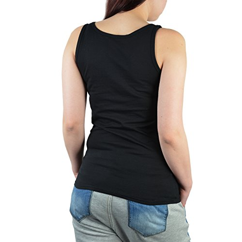 Damen/Girlie-Top/Träger-Shirt Tema Wandern: Auszeit ab in die Berge - für Gipfelstürmer Schwarz