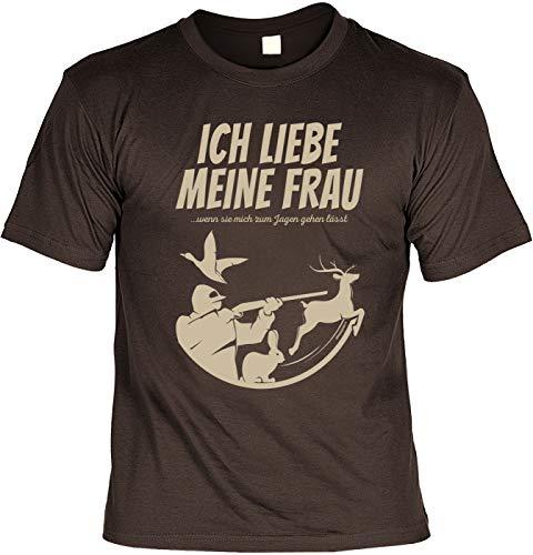 Lustiges Fun T-Shirt Jäger - Ich Liebe Meine Frau Wenn Sie Mich zu Jagen Gehen lässt - Jäger Förster Geburtstag